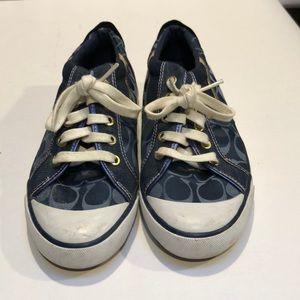 Blue signature coach shoes